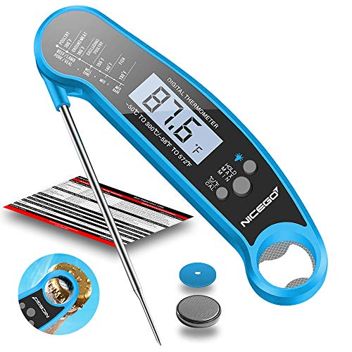 NiceGo Digital Instant Read Meat Thermometer with Probe Fast Waterproof Thermometer with Back light and Calibration Digital Food Thermometer for Cooking Kitchen Outdoor Cooking BBQ Grill