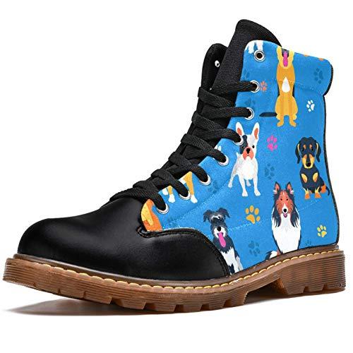 Botas de combate con cordones para mujer, diseño de huellas de patas, con ocho ojos, para mujer, tacón bajo, botas de invierno, color, talla 40 EU