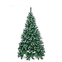 """Materiale: PVC Altezza: 180 cm Diametro base: 105 cm Stand in metallo: 40 cm Colore: Verde con 850 punte """"Effetto Neve"""""""