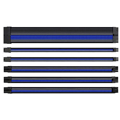 Cobeky Juego de 4 líneas de 300 mm de potencia del ordenador de la placa base de nailon trenzado cable de extensión de 24 pines 8 pines 6 pines 4+4 pines negro gris azul