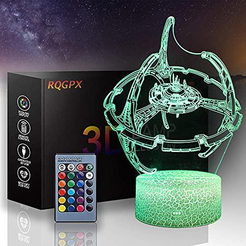 3D lámpara visual Star Wars lámparas de estado de ánimo A 16 colores cambio automático interruptor táctil decoración escritorio lámparas regalo cumpleaños
