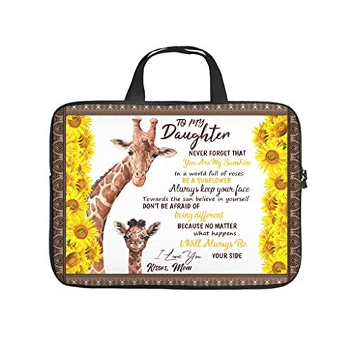 Funda para portátil con estampado de jirafas a mi hija y jirafa, resistente al agua, neopreno, funda para portátil, funda para tablet para amigas, blanco, 12 pulgadas,