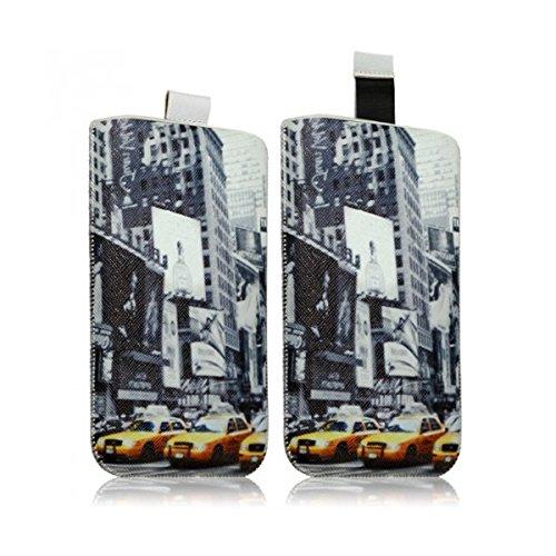 Seluxion LM01-Funda calcetín universal para teléfono móvil talla XL, diseño de Times Square para LG G3, LG G Flex 2