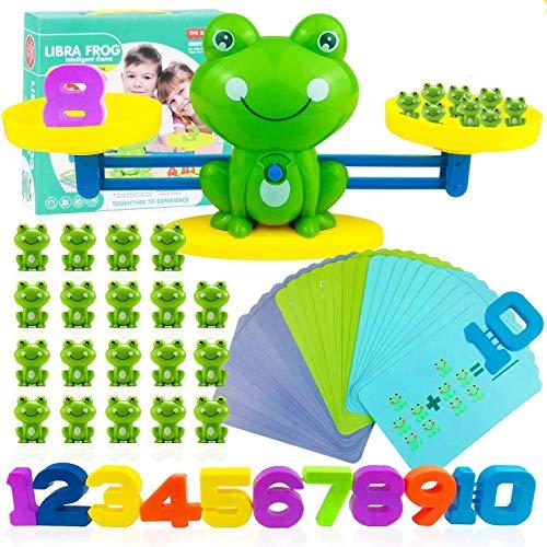 Juguetes Educativos para Niños, Rana Equilibrio Juguete de Matemáticas Juguetes Montessori para Niños y Niñas Matematicos Balanza para Niños Equilibrar Rana Animal Juguete Montessori con Numer Tarjeta