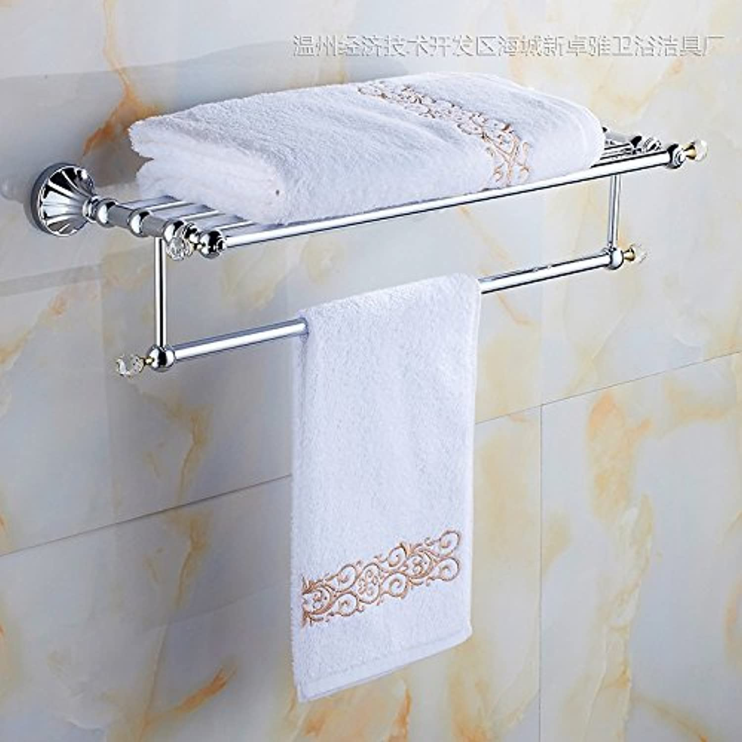 Bathroom stainless steel-studded double layer glass shelf-@wei