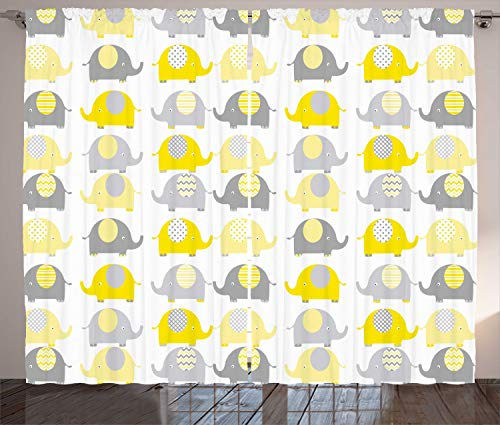 Ambesonne Cartoon Curtains, Yellow and Grey Elephant Animals with Different Patterns Fauna, Living Room Bedroom Window Drapes 2 Panel Set, 108' X 84', Yellow Grey