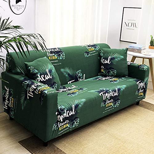 Funda de sofá Antideslizante de Poliéster Spandex Hawaii Verde Estampado,Funda elástica Antideslizante Protector Cubierta de Muebles para sofá de 4 plazas(1 Funda de Cojines)
