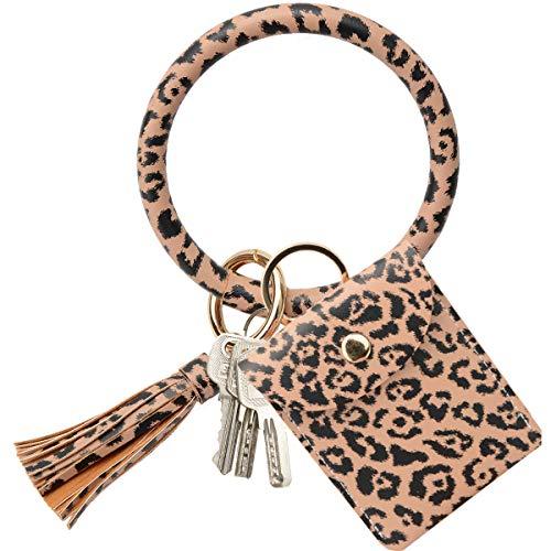 COOLANS Wristlet Bracelet Keychain Card Holder Card Pocket PU Leather Purse Tassel Keychain Bangle Key Ring for Women Girls (Style 01)