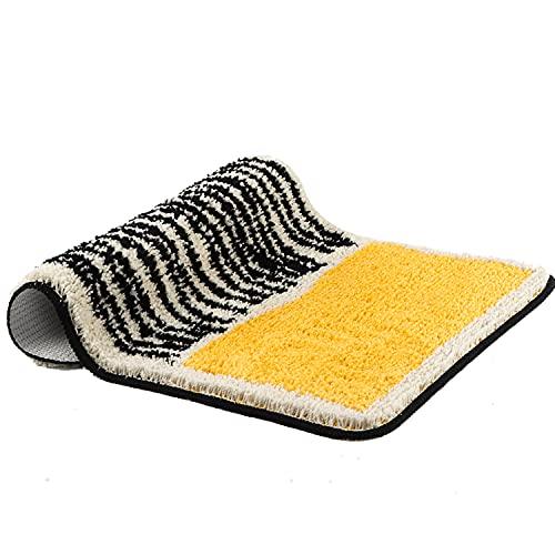 Carttiya Alfombra Baño Absorbente Altamente de Microfibras Suaves Alfombrilla Baño Antideslizante con Base de TPR Alfombra Baño Lavable para Puerta, Dormitorio, Lavabo, 40 x 60 cm Amarillo Negro
