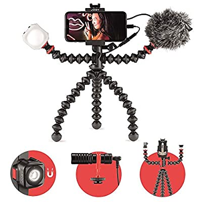 JOBY GorillaPod Mobile Vlogging Kit with Bluetooth Impulse Remote, Smartphone Gimbal Holder, Flexible Tripod, with Wavo Mobile Microphone, Beamo Mini LED Light, Starter Kit for Content Creators by JOBY
