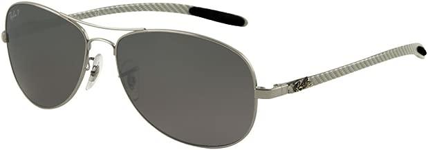 RAY-BAN RB8301 Aviator Sunglasses, Gunmetal/Polarized Silver Gradient Mirror, 59 mm