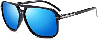 Fashion Polarized Oversized Mirror Driving Square Retro Driver Sunglass UV400 Men's Sunglasses Retro (Color : Blue)