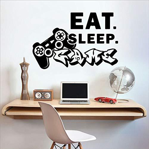 Zdklfm69 Adhesivos Pared Pegatinas de Pared Play Station Game Controller Videojuego Eat Sleep Game Vinilo Home Playroom Decor 77x52cm