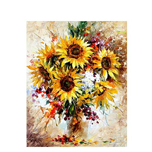 Wxswz Fotolijst geel zonnebloem om zelf te maken digitaal schilderij van acryl moderne muurkunst handgeschilderd olieverfschilderij voor het huis 40 cm x 50 cm zonder lijst