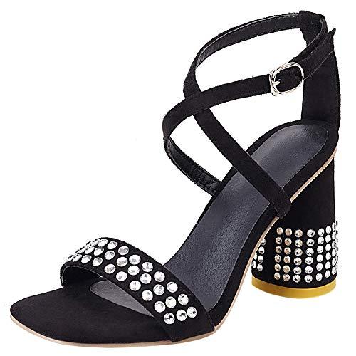 Garggi Noche Zapatos Tacón Ancho Mujer Correa De Tobillo Sandalias Mujer Moda Tacón Alto Elegante con Tachuelas Boda Fiesta Sandalias Negro Talla 37 Asiática (Ropa)