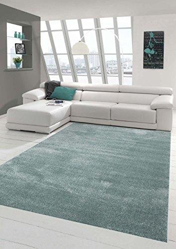 Traum Designer Teppich Moderner Teppich Wohnzimmer Teppich Kurzflor Teppich Uni hellblau meliert eisblau Größe 120x170 cm