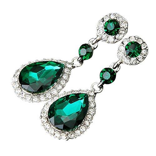LABIUO Mode Kristall Teardrop Diamant Tropfenohrring Ohrringe(Grün,Freie Größe)