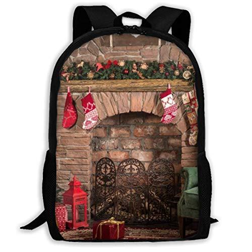 Weihnachten Kamin Hintergrund drucken Erwachsenen Rucksack Laptop für Erwachsene, ältere Kinder