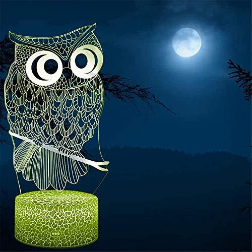 3D ilusión lámpara búho controlador noche luz noche lámpara 16 color cambiante Navidad Halloween regalo de cumpleaños para niño bebé niño