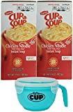 Lipton Chicken Noodle Cup a Soup 22 Single Serve Packets (Pack of 2) with By The Cup Soup Bowl