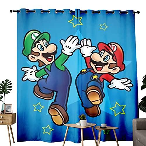 Comic Super Mario Bros. Partner Cortinas opacas con aislamiento térmico y ojales de ahorro de energía para sala de estar, juego de 2 paneles de cortina de ventana degradado de 102 x 152 cm