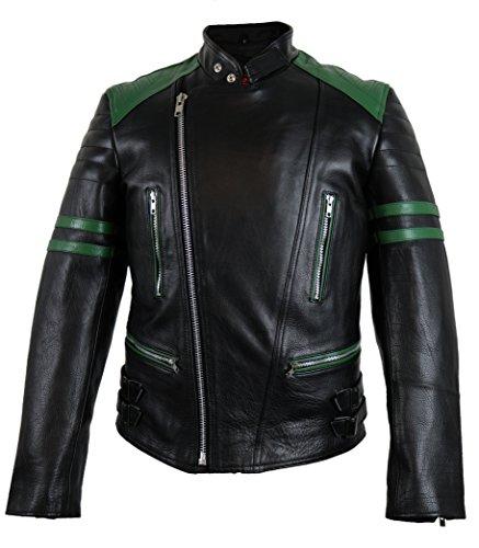 MDM Retro Oldschool Lederjacke, schwarz/grün, Motorradjacke, (L)