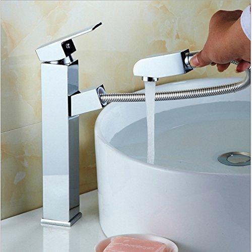 Lvsede badkamer waterkraan design keukenkraan koper waterkraan trekken eengatmontage wastafel hete en koude bad telescoop ruimte hoog deel (80 cm inlaatbuis)