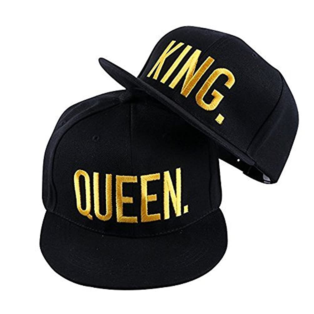 King and Queen Cap Flat Embroidered Lovers Couples Hip-Hop Hats Snapback Caps