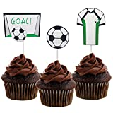 Morndew 20 PCS Sports Fan with Soccer Shirt Football Goal Cupcake Toppers for Theme Party Birthday Party Wedding Party Decorations