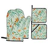 Guanti da Cucina Resistenti al Calore e Set di Presine Rami di olivello spinoso floreale senza cuciture Adatti per Cottura,Cottura al Forno,Grigliate