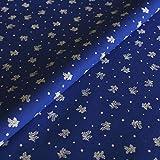 Hans-Textil-Shop Stoff Meterware Blümchen auf Blau,