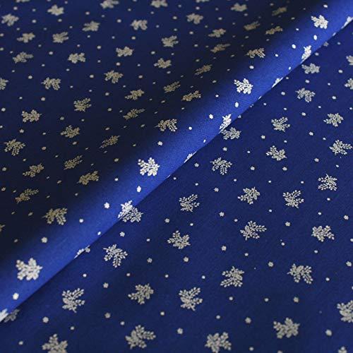 Hans-Textil-Shop Stoff Meterware Blümchen auf Blau, Baumwolle - Dirndl, Tracht, Landhaus, Deko - 1 Meter