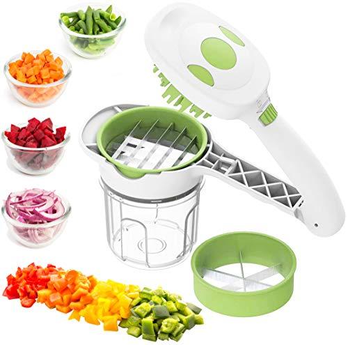 MovilCom® - Cortador de Verduras 5 en 1 | Picadora Manual de Alimentos con Cuchillas de Acero Inoxidable | Corta y trocea Frutas y Verduras