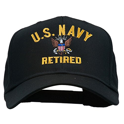 e4Hats.com US Navy Retired Military Embroidered Cap - Black OSFM