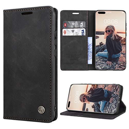 RuiPower Handyhülle für Huawei P40 Pro Hülle Premium Leder PU Flip Hülle Wallet Lederhülle Klapphülle Magnetisch Silikon Bumper Schutzhülle für Huawei P40 Pro Tasche - Schwarz