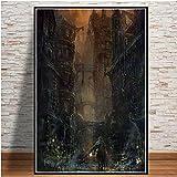 xinxinxiangrong Bloodborne Hunter Videojuegos Art Posters e Impresiones Lienzo Pintura Cuadros de Pared para Sala de Estar Decorativo para el hogar A1718 50 × 70cm Sin Marco