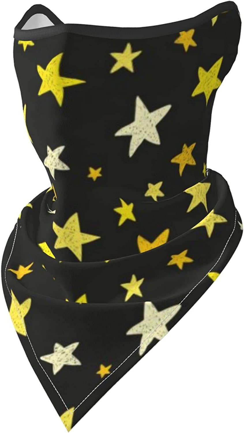 Yellow Stars on Black Background Breathable Bandana Face Mask Neck Gaiter Windproof Sports Mask Scarf Headwear for Men Women Outdoor Hiking Cycling Running Motorcycling