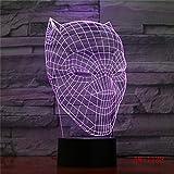 Wfmhra Night Light Cool Black Panther 3D LED RGB 7 Cambio de Color Lámpara de Escritorio USB para niños Niños Niño...