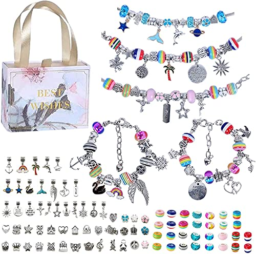 Queta Kit para Hacer Pulseras Niñas, 90piezas para Pulsera de Plata , Kit de fabricación de Joyas para niña, Regalo de Año Nuevo Cumpleaños Navidad para Niñas de 5-17 Años, Kits para hacer bisutería
