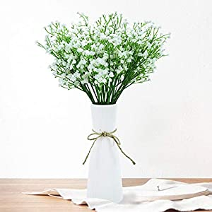 Pomeat Babys Breath Artificial Flowers, Artificial Gypsophila Bouquets, 12Pcs Artificial Babys Breath for Wedding Party Decoration DIY Home (White)