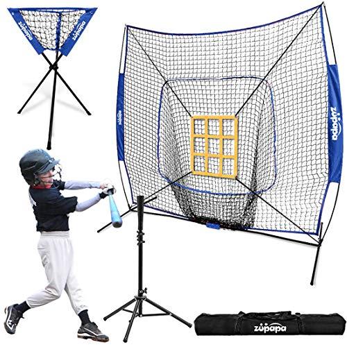 Baseball Softball Batting Tee Steel Frame with 7'x7' Practice Net est