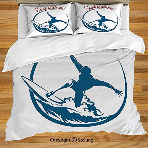 Juego de funda nórdica de ropa de cama moderna, cita de Surf with Me con Surfing Man Silhouette Exotic Sports Hobby Illustration Juego de cama decorativo de 3 piezas con 2 fundas de almohada, azul vio
