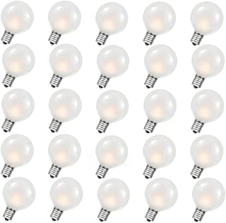 Monkeydg G40 Outdoor Globe Replacement Bulbs with Frosted White, 5 Watt C7/E12 Candelabra Base, 25 Pack