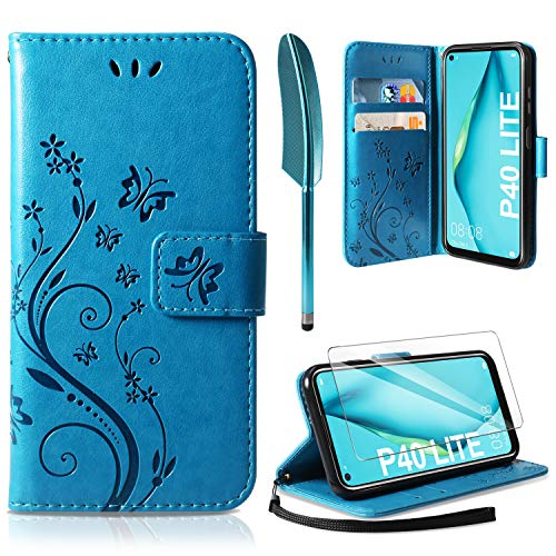 AROYI Lederhülle kompatibel mit Huawei P40 Lite Flip Hülle & Schutzfolie, Wallet Hülle Handyhülle PU Leder Tasche Hülle Kartensteckplätzen Schutzhülle kompatibel mit Huawei P40 Lite