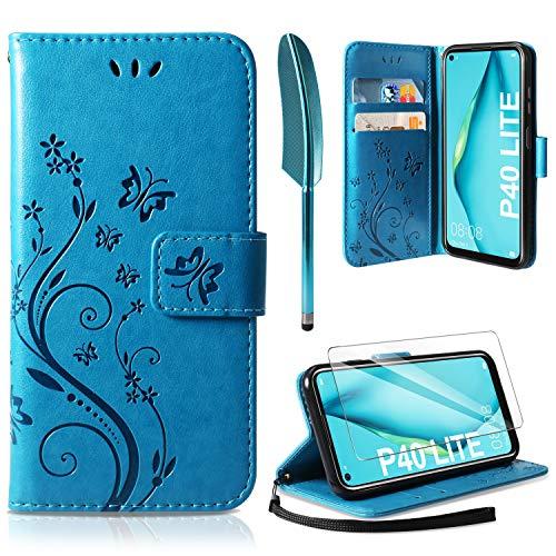 AROYI Lederhülle Huawei P40 Lite Flip Hülle+ HD Schutzfolie, Huawei P40 Lite Wallet Hülle Handyhülle PU Leder Tasche Hülle Kartensteckplätzen Schutzhülle für Huawei P40 Lite