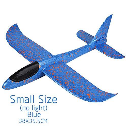 AZHUI Los Aviones planeadores, Manual de Espuma Avión Juguetes Tirar el Papel avión de Juguete Model Kits De niños niñas niños al Aire Libre Juguete de Regalo Sport (Color : Small Size Blue)