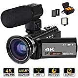 caméscope 4 K, Actitop Video Camera 48 MP Full HD 1080p WiFi IR Vision de Nuit 16 x Digital Zoom vidéo caméscope...