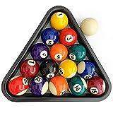 ISPiRiTo Billiard Ball Set Mini Size 1-1/2 Inch Pool Balls Set Complete 16 Balls Set American Style Resin Balls Come with Triangle Rack Pool Table Accessories