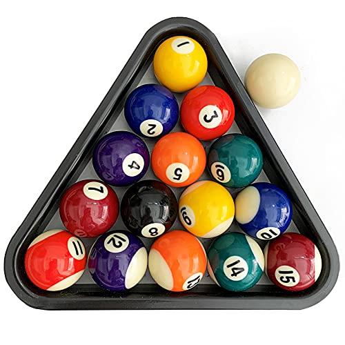 ISPiRiTo Billiard Ball Set Mini Size 1-1/2 Pool Balls Set Complete 16 Balls Set American Style Resin Balls Come with Triangle Rack Pool Table Accessories