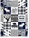 Puddle Kickers Personalized Moose Minky Baby Blanket Woodland Boho for Boy (Soft Polyester Fleece - 30' x 40' - Navy Blue, Black and Gray)